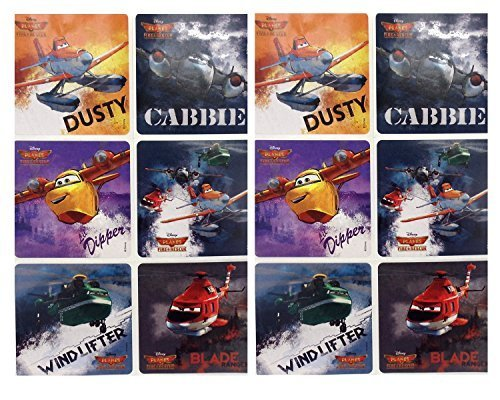 "PLANES FIRE & RESCUE STICKERS- Planes Fire and Rescue Birthday Party Favor Sticker Set Consisting of 45 Stickers Featuring 6 Different Designs Including Dusty, Cabbie, Dipper, Blade Ranger and Wind Lifter, Measuring 2.5"" Per Sticker"