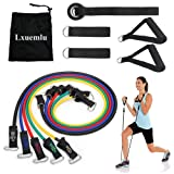 ?2019 Upgraded? Resistance Bands Set with Handles, Door Anchor, Ankle Straps and Workout Guide - Lxuemlu Exercise Bands for Men Women Resistance Training, Home Workouts - 100% Life Time Guarantee (Color: Black Blue Red Green Yellow)