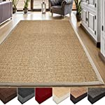 casa pura Area Rug | Sisal Non-Slip Rug for Living Room or Bedroom | Environmentally-Friendly 100% Natural Fiber Carpet | 2 Sizes | Beige - 4 x 6