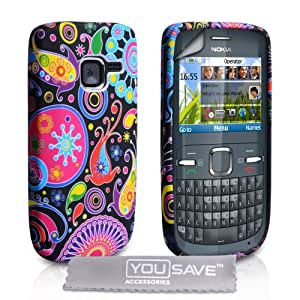 Stylish Jellyfish Silicone Gel Patterned Case Cover For The Nokia C3 With Screen Protector Film And Grey Micro-Fibre Polishing Cloth - Red Black Pink Yellow Multi Coloured