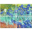 [WOODEN FRAMED] Canvas Print Painting by Vincent Van Gogh Irises Flower of Painting Stretched Framed 12x16 inch each 4Pcs Set