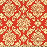 Aviary 2 Damask Saffron Fabric