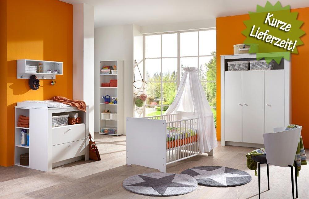 3-tlg- Babyzimmer in weiß, Kleiderschrank Breite 130 cm, Wickelkommode Breite 89 cm, Babybett Liegefläche 70 x 140 cm
