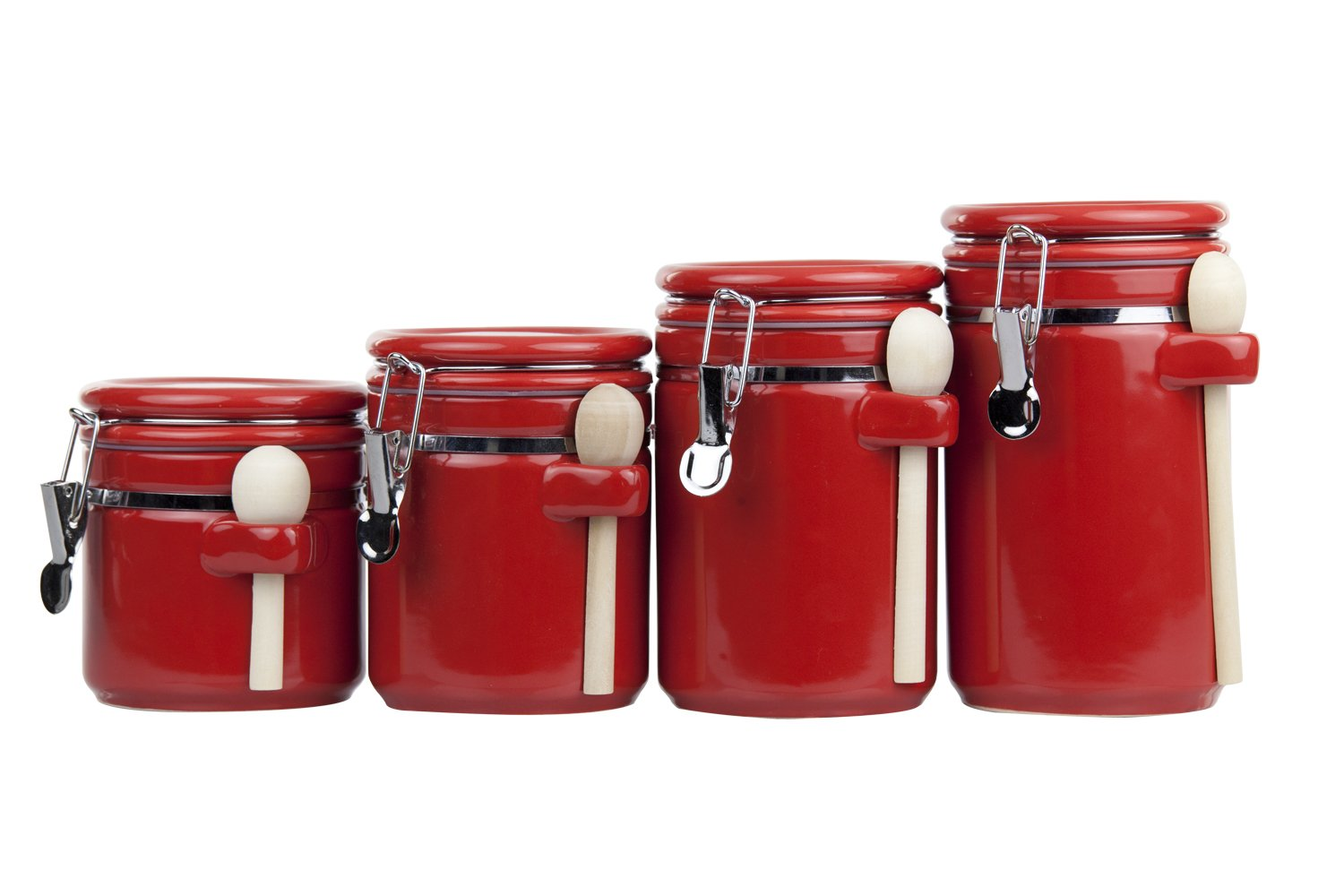 Home Basics 4pc Ceramic Canister Set W Spoon Red Ebay