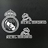 Real Madrid CF レアル・マドリード 小サイズ カーステッカー デカール 【ステッカー貼付説明書付】 (シルバー/3枚セット)