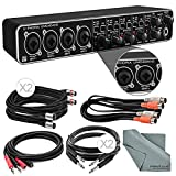 Behringer U-PHORIA UMC404HD USB 2.0 Audio/MIDI Interface and Accessory Bundle w/ 4X Xpix Cables + 2RCA Male Dual Cable + Dual MIDI Cable + Fibertique