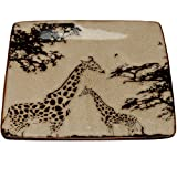 8 Inch Two Giraffes Modern Square Salad Plate, Tan and Brown