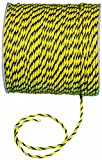 "Mutual 14980 3-Strand Twisted Polypropylene Safety Rope, 1490 lbs Tensile Strength, 600 Length x 1/4"" Width, Yellow/Black"