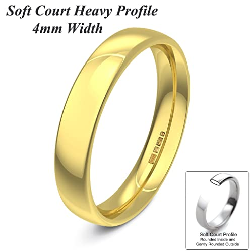 Xzara Jewellery - 18ct Yellow 4mm Heavy Court Profile Hallmarked Ladies Gents 5.4 Grams Wedding Ring Band