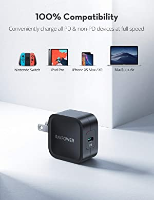 USB C Wall Charger, RAVPower 30W PD 3.0 [GaN Tech] Type-C Fast Charging Adapter with Folding Prong, Compatible with MacBook Air, iPad Pro, iPhone Xs Max/XR/X (Black) (Color: Black)
