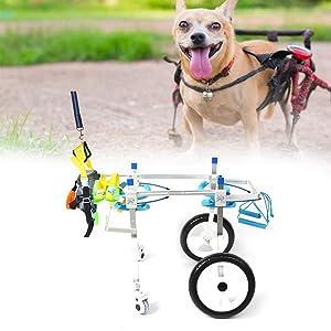 Fdit Adjustable Pet Dog Wheelchair Cart Disabled Dog Assisted Walk Car Pet Hind Leg Exercise Car for Hind Legs Rehabilitation Dog Walk (4 Wheel-L) (Tamaño: 4 Wheel-L)