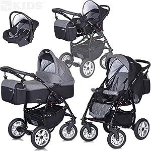 PREMIUM 3 en 1 Carrito PASSO convertible con capazo, saco para las piernas, bolsa para pañales, capota y silla de coche (grupo 0+) / 6 diseños de color disponibles, Color:F1 - carbon