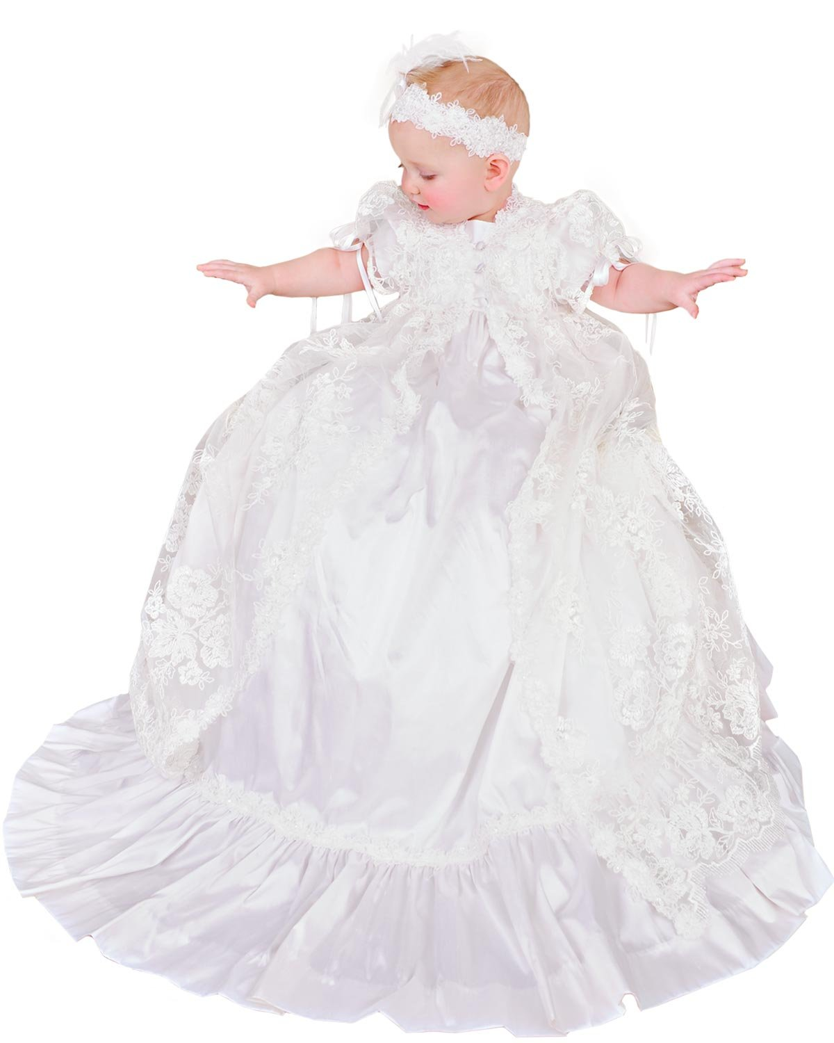 Sophi Silk and Lace Christening or Baptism Gown for Girls