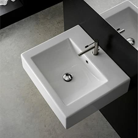 Scarabeo Scarabeo 8025/B-Three Hole-637509855079 Square Ceramic Bathroom Sink, White