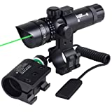 WNOSH Super Power Tactical Variable Waterproof lluminated Reticle Green Sight Mil Dot Scope, Sight Dot Sighter with Mounts for Sniper Military Pistol Handgun Air Gun Rifle Include Battery Charger