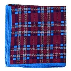 PS-A-428 - Fucshia - Blue Italian Design Silk Pocket Square