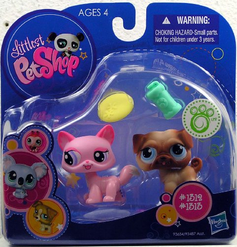 Buy Low Price Hasbro Littlest Pet Shop Kitten (#1312) And Pug (#1313) With Accessories Action Figure (B0032U9IHG)