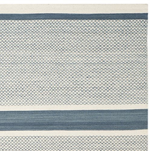 Safavieh Kilim Collection KLM952A Hand Woven Blue and Ivory Wool Area Rug, 8 feet by 10 feet (8' x 10')
