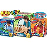 Citi Blocs 200 Piece Natural Colored Building Blocks, 100 Piece Cool Colored Building Blocks & 100 Piece Hot Colored...