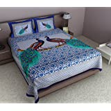 JAIPUR PRINT Peacock Printed Blue Cotton Double Bedsheet (With Pillow Covers)