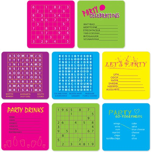 Party Puzzle Coasters (asstd designs)    (8/Pkg) - 1