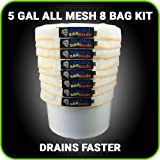 BUBBLEBAGDUDE Bubble Bags All Mesh 5 Gallon 8 Bag Herbal Hash Ice Extractor Kit - Comes with Pressing Screen and Storage Bag