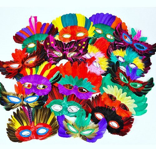 25 ~ Assorted Feather Masks ~ New ~ Mardi Gras, Costume Masks