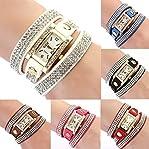 Women's Vintage Square Dial Rhinestone Weave Wrap Leather Bracelet Wrist Watch