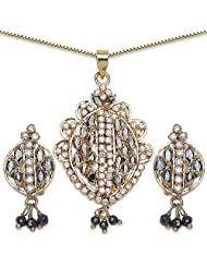 14.50 Grams Black Cubic Zirconia & White Cubic Zirconia Gold Plated Brass Pendant Set