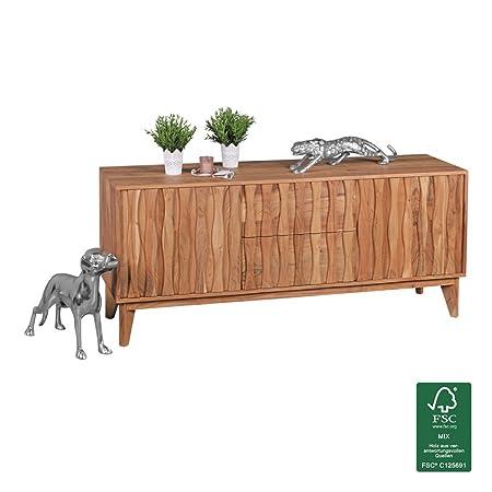 WOHNLING Sideboard Massivholz Akazie   Kommode 160 cm mit 2 Schubladen und 2 Turen   Design Anrichte Landhaus-Stil braun natur   Echt-Holz Schubladenkommode Natur-Produkt Flur-Möbel Dielen-Möbel
