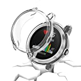 Garmin vivoactive 3 Protector Case,JZK Soft TPU Plated Screen Protector Cover All-Around Protective Screen Cover Bumper Shell [Scratch-Proof] for Garmin vivoactive 3 Smartwatch Accessories,Clear (Color: Clear)