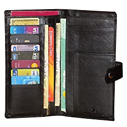 Style98 Pure Leather Black Men Long Travel Wallet with Card Holder & Coin Pocket