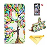 Se7enline for 4.7 inch iPhone 6 [3 in 1 Bundle] Case+ 2 piece HD Clear Screen Protectors+Soft Clean Cloth,Painted Fashion Style Wallet Card Case Magnetic Design Flip Folio PU Leather Standup Cover Case for iPhone 6 ,with Colorful Tree and Leaf Pattern,Lucky Tree