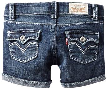 (便宜)$5.59 李维斯 Levi's Girls 2-6X Taryn Thick Stitch 女童牛仔短裤