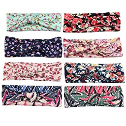 Jastore® Baby Girl Cute Turban Headband Head Wrap Knotted Hair Band (Style 20 (8 Pieces))