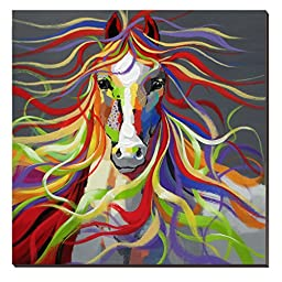 cubism Horse Oil Painting on Canvas 30x30inch Colorful Wild Animal Modern Wall Art Home Decoration for Bed Room,Stretched- Ready to hang!