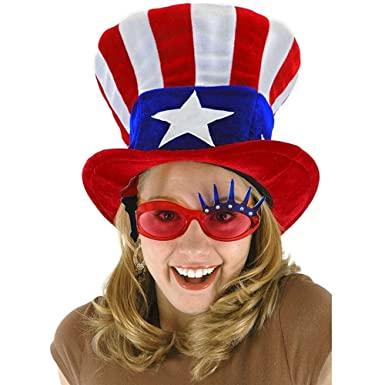 22ea6ad36172 Elope USA Uncle Sam Hat Includes a quality plush Uncle Sam top hat in red,  white and blue. Available in One-Size Fits Most Adults.