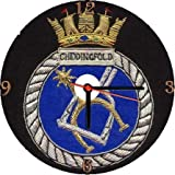 ROYAL NAVY HMS CHIDDINGFOLD * A CD/DVD (12 cm diameter) SIZED NOVELTY CD QUARTZ WALL CLOCK WITH FREE BATTERY AND DESK STAND * CAN BE PERSONALISED