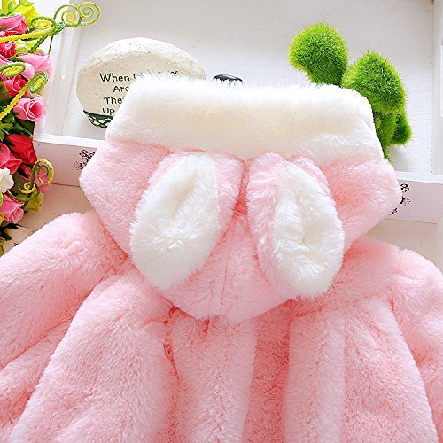 Baby Girl Fur Winter Warm Coat Cloak Jacket Thick Warm Clothes 18-24Months Pink