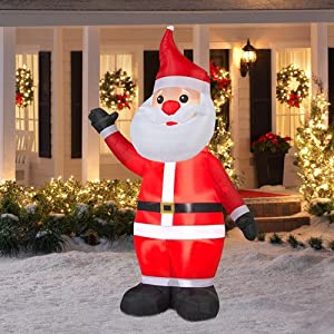 Lighted lights up inflatable self inflates blow up waving santa