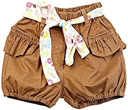 Oye Girl'S Short With Belt - Khaki (2-3Y)
