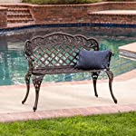 Christopher Knight Home Lucia Outdoor Garden Bench Cast Aluminum Construction Antique Copper Finish