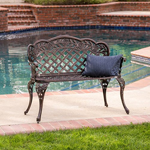 Christopher Knight Home Lucia Outdoor Garden Bench Cast Aluminum Construction Antique Copper Finish 0