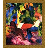 Couple At The Garden Table By Macke - ArtsNyou Printed Paintings - B00QA1DI1G