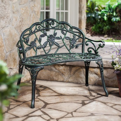 LB International Rose Cast Aluminum Curved Loveseat Bench, Green, Aluminum