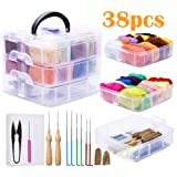 Needle Felting Kit, 24 Colors Wool Roving for Felting, Complete Needle Felting Starter Kit with Basic Felt Tools and Supplies Wool Fibre Hand Spinning DIY Craft Wet Felting Material for Beginners
