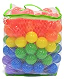 "100 ""Phthalates Free"" 6.5cm Play Ball w/ Mesh Tote: Red, Yellow, Blue, Purple, Orange and Green"
