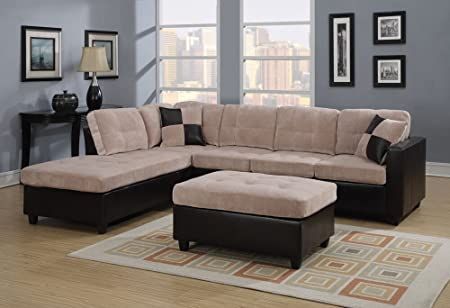 2 pc Mallory collection 2 tone Cream padded textured fabric and leather like vinyl upholstered sectional sofa with reversible chaise