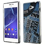 Music 030 Vinyl Record Ultrathin Crystal Soft TPU Gel Silicone Case Cover Skin Shell Protector with Textured Design for Sony Xperia M2