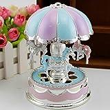 Tubwair Carousel Music Box, Wonderful Merry-Go-Round Box with LED Flash Light Art Luminous Rotating Baby's Room Lamp for Birthday (Purple) (Color: Purple, Tamaño: free size)